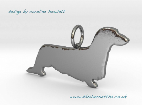 Standard long haired Dachshund dog silhouette pendant sterling silver handmade by saw piercing Caroline Howlett Design